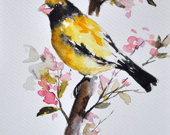 ORIGINAL Watercolor Bird Painting, Goldfinch On A Branch 6x8 Inch