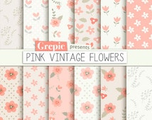 "Pink floral digital paper: ""Pink Vintage Flowers"" flower digital paper in light pink / coral, wedding floral, patterns, roses, background"