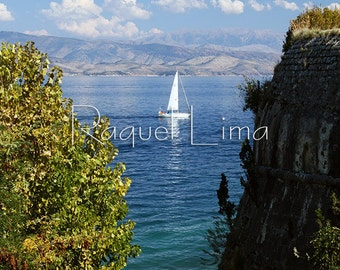 Travel Photography: Sailboat in the sea in the greek island Corfu (Kerkira o Kerkyra) in Greece  (Ελλάδα).