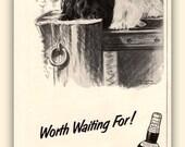1957 Scottie and Westie dogs in vintage magazine ad, ephemera, Public Pier, Scotch,  BOGO deal,