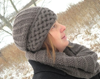 KNITTING PATTERN HAT and Scarf - knit pattern hat - knit pattern scarf - Pdf hat and Scarf Pattern