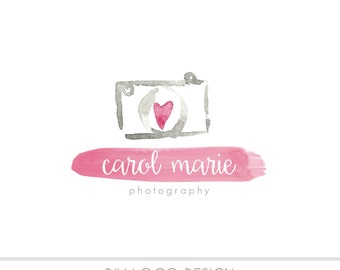 CLEARANCE - Watercolor DIY Business Logo, Pastel, photography, watermark, painted, Newborn  logo, maternity logo, Watercolor Camera, Heart