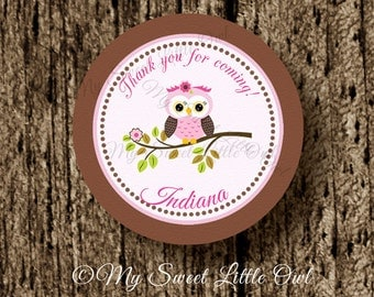 PInk brown owl cupcake topper - owl sticker - pink owl birthday party - owl baby shower - owl label - owl tag - owl printable - owl party