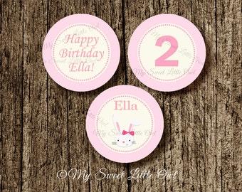 Bunny  cupcake topper -  bunny sticker - Bunny  label - bunny tag - bunny Baby shower - bunny birthday party - bunny printable . rabit label