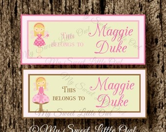 School label - fairy  name label - name tag sticker - back to school label - fairy school label - book label - this belongs to label