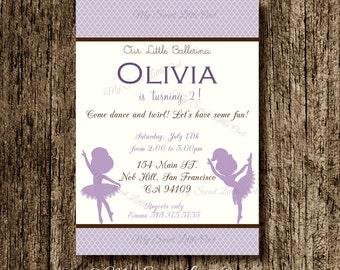Lila Ballerina invitation -  Ballerina baby shower - ballerina invite -  ballerina birthday - lavender ballerina invitation