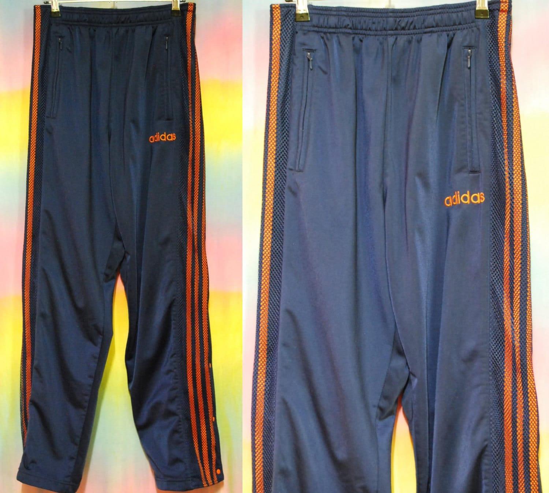 90s Vintage Navy Adidas Snap Pants Club Kid Kawaii Hip Hop