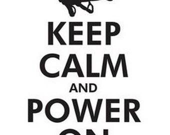 Black Writing Keep Calm and Power On Male Gymnast Short Sleeve Gymnastics T-Shirt Sports