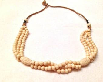 Antique Handmade Tribal Faux Ivory Bone Multi-Strand Beaded Necklace- Braided Twine- Detailed