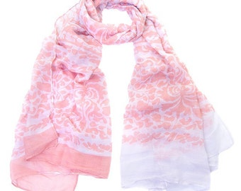 Pink and white patterned scarf, ladies large Pastel Pink floral print Wrap Shawl