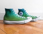 New pair! Tropical green ombre Converse, high tops, All Stars, dip dye sneakers, Chucks, size 42.5 (UK 9, US wo's 11, US mens 9)