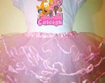 Bubble Guppies Dress 2 Pc Pink Tutu Birthday outfit 1T,2T,3T,4T,5T,6T,7T,8T