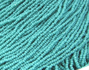 13/0 Turquoise Green Opaque Charlottes Czech Glass Seed Beads – Available In: 1/2-1-4-8-12 Hank Qtys - 1.7 mm 1 Cut - One Cut.