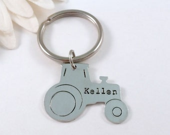 Personalized Tractor Key Chain - Tractor Keyring - Customized Keychain - Handstamped Aluminum