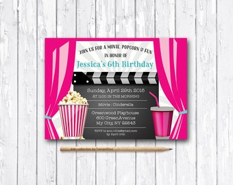 Movie Party Invitation Printable, Movie Birthday Invitation, Printable Birthday Invitation, Girl Birthday, Cinema Party Invitation