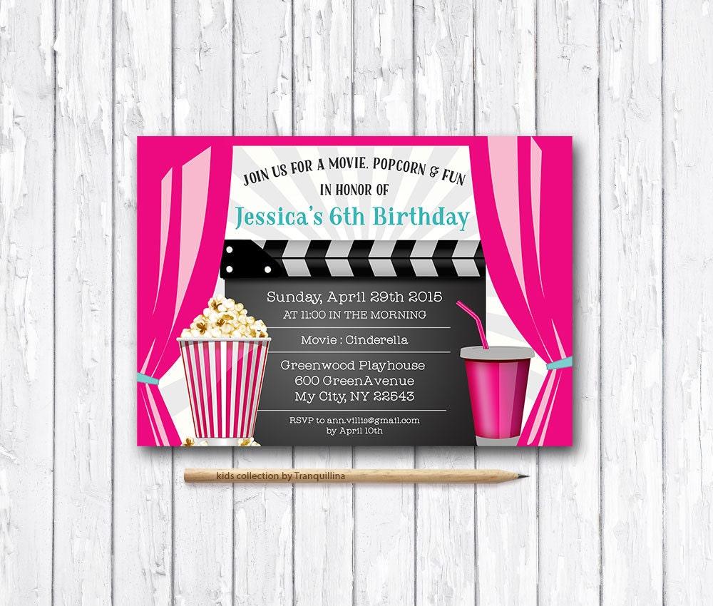 movie party invitation printable movie birthday invitation