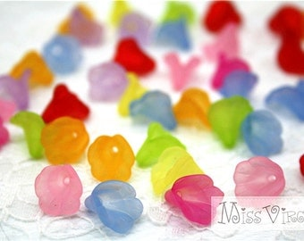 50pcs 13x10mm flower lucite beads morning glory jewellery making craft accessory diy materials handcraft plastic fake flower mix lot acrylic