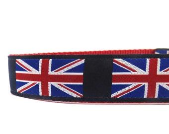 Union Jack Collar / British dog collar/  ribbon dog collar/ adjustable dog collar