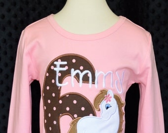 Personalized Birthday Horse Pony Applique Shirt or Onesie Girl or Boy