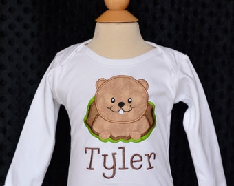 Personalized Ground Hog Applique Shirt or Onesie Girl or Boy