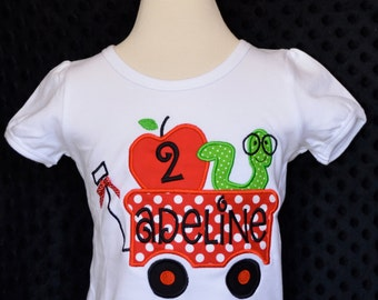 Personalized Birthday Wagon with Apple and Bookworm Applique Shirt or Onesie Girl or Boy