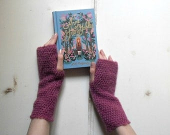 Arm warmers,  handwarmers, long arm warmers - heather pink