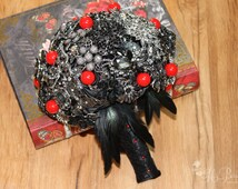 Black Crystal Brooch Bouquet, FULL PRICE, Black Feather Bouquet, Full Black Brooch Bouquet, Black Bouquet, Black and Red, Rockabilly