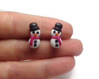 Cute Studs, Holiday Earrings, Snowman, Stud Earrings, Winter Snowman, Handmade Earrings, Cute Jewelry, Christmas Gift, Christmas Studs