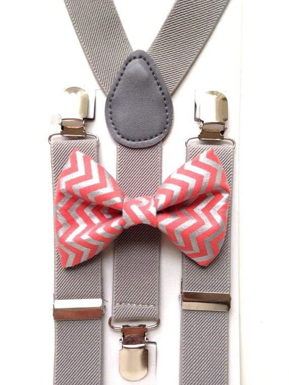 Light Gray Suspenders and Coral Chevron Bow Tie