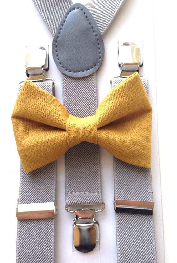 Light Gray Suspenders and Mustard Yellow Bow Tie