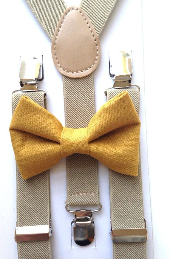 Tan Suspenders and Mustard Bow Tie