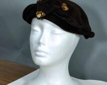1950's Felt Fascinator. Vintage Clemar Original Brown Felt and Sequins Hat Made in USA