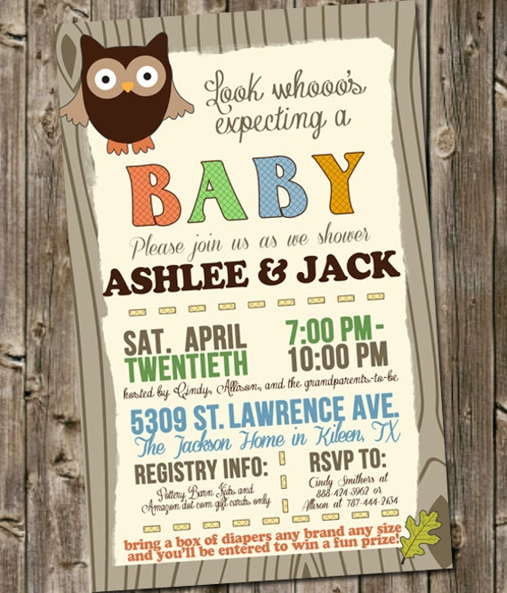 coed baby shower invitation woodland owl look whooo 39 s