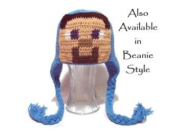 Steve Hat, Minecraft, Boys Steve Hat, Girls Steve Hat, Kids Steve Hat, Teen Steve Hat, Adult Steve Hat, Crochet Steve Hat, Gaming