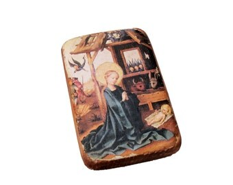 17x11cm Virgin Mary and the Child Jesus, Nativity icon, picture on the wood, icon, German late Gothic painting of Stefan Lochner