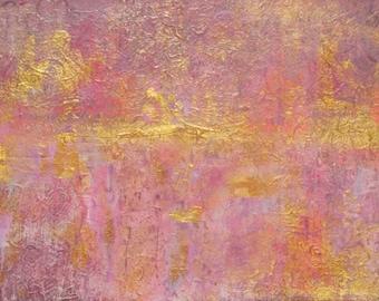 "Original Abstract Painting Pink Gold Acrylic Fine Art, Contemporary Home Decor, 9"" x 12"" Modern Wall Art"