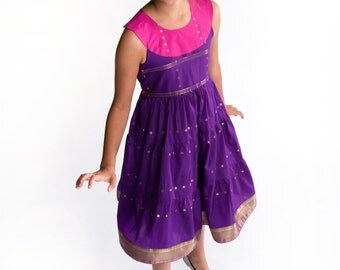 Fuchsia and violet sari dress for girls