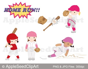 Baseball Player Digital Clip Art, Baseball Digital Clip Art, Cute Little Girls Digital Clip Art, Instant Download