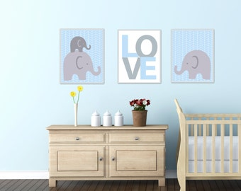 Elephant Nursery Art Print, This set Includes a Family of Cute Elephants and a Love Print,Suits Blue and Grey Nurser- H282