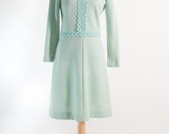 Vintage 1960's Sea Foam Green Mod Dress Bleeker Street (Size 12 Aust / 8 USA / 12 UK)