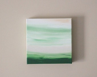 Original minimalist painting gallery canvas 10X10 square art ombre wall art dark green white gold forest green decor abstract painting art