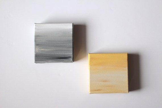 Grey and yellow wall art set of original painting abstract for What kind of paint to use on kitchen cabinets for ready to hang canvas wall art