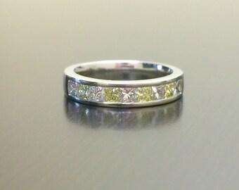 Platinum Yellow Diamond Engagement Band - Princess Cut Diamond Wedding Band - Channel Set Diamond Platinum Band - Yellow Diamond Ring