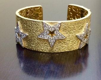 18K Yellow Gold Cuff Diamond Bracelet - 18K Gold Diamond Bangle Bracelet - 18K Star Diamond Bracelet - 18K Gold Bangle Diamond Cuff Bracelet