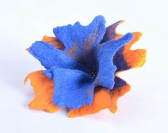 Felted flower brooch in blue and orange - art floral brooch - feminine felt jewelry [B62]
