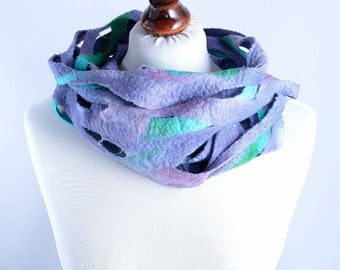 Purple infinity scarf made of soft merino wool - sheer, airy, felt loop scarf with holes - hole infinity scarf [IF7]