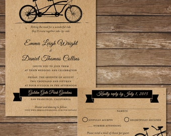 Printable Bicycle Wedding Invitation with RSVP Card - Digital File