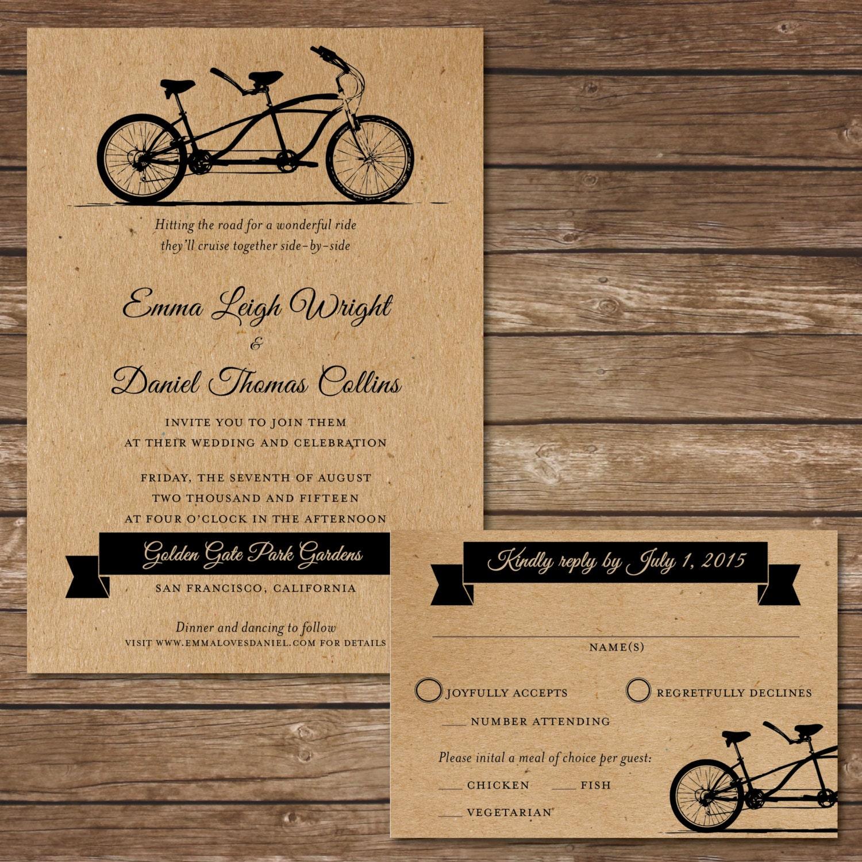 Printable bicycle wedding invitation with rsvp card digital for Digital wedding invitations with rsvp