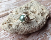 Green Pearl Wire Wrapped Ring, Silver Ring, You Choose The Size Handmade