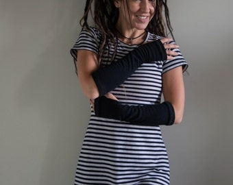 Made to Order - Poly cotton blend tunic dress in navy blue and white stripes.